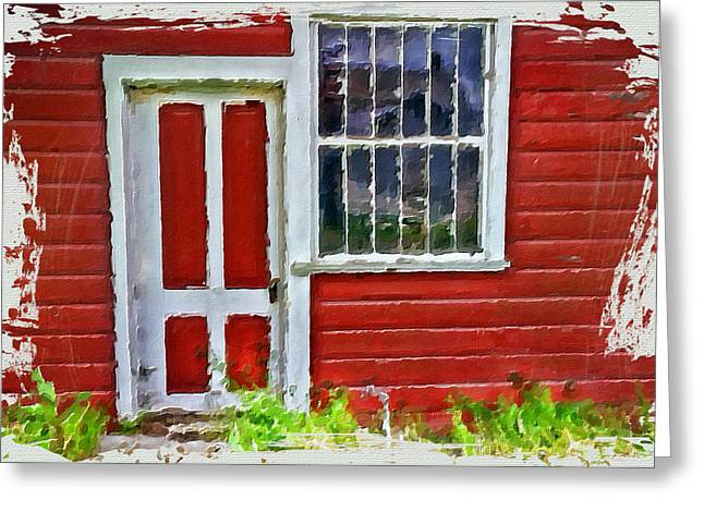Cabin Window Mixed Media Greeting Cards - Little Red Cottage Greeting Card by Bonnie Bruno