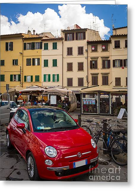 Parking Greeting Cards - Little Red Fiat Greeting Card by Inge Johnsson