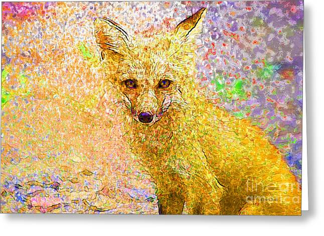 Vixen Digital Greeting Cards - Little Red Fox Greeting Card by Claire Bull