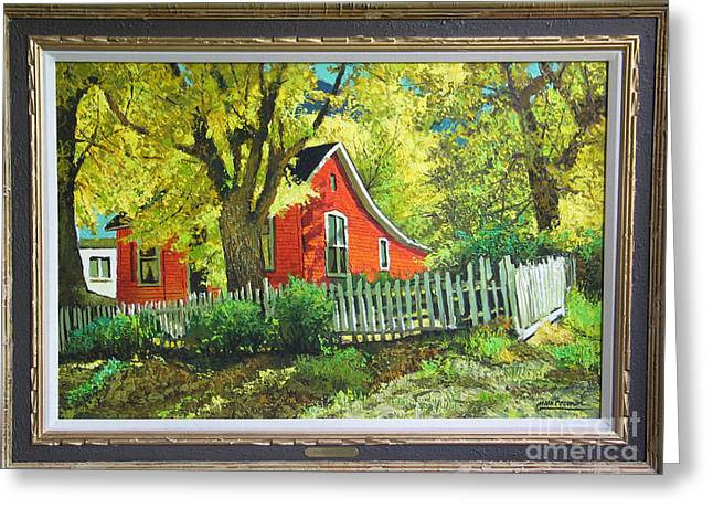 Clapboard House Paintings Greeting Cards - Little Red House by Mark Coomer Greeting Card by Mark Coomer