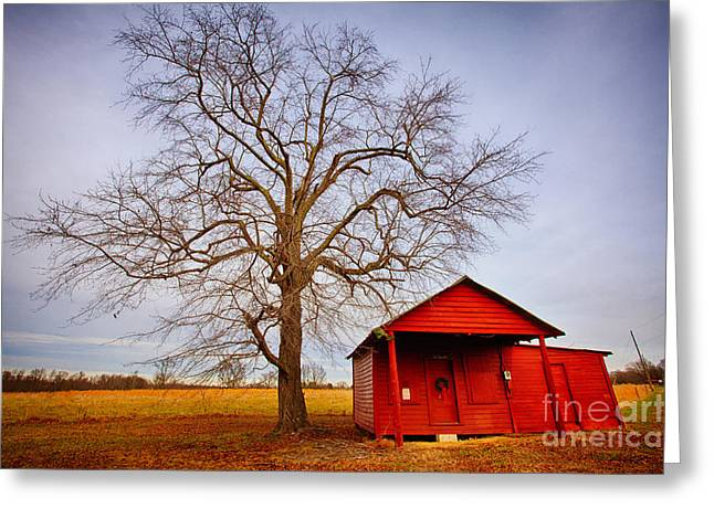 Surreal Barn Prints Greeting Cards - Little Red House in North Carolina Greeting Card by Dan Carmichael