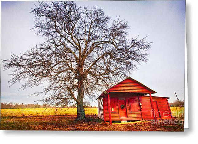 Surreal Barn Prints Greeting Cards - Little Red House in North Carolina II Greeting Card by Dan Carmichael