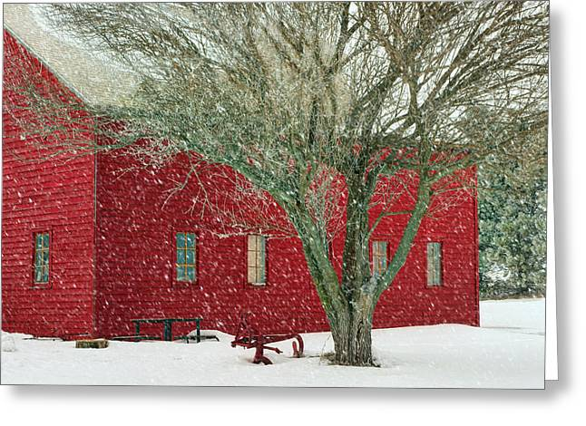 Outbuilding Greeting Cards - Little Red in Winter Greeting Card by Nikolyn McDonald