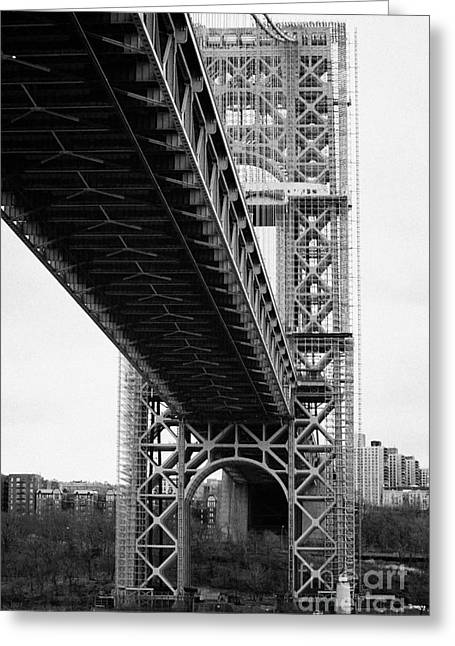 Manhatan Greeting Cards - Little Red Lighthouse Beneath The George Washington Bridge Hudson River New York City Greeting Card by Joe Fox