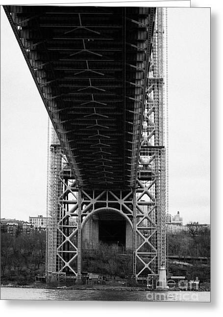 Manhatan Greeting Cards - Little Red Lighthouse Beneath The George Washington Bridge Hudson River New York Greeting Card by Joe Fox