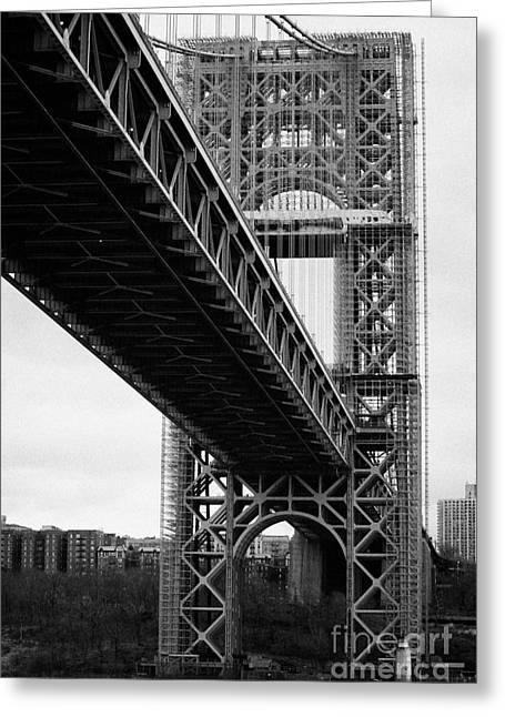 Little Red Lighthouse Beneath The George Washington Bridge Hudson River New York Nyc Greeting Card by Joe Fox