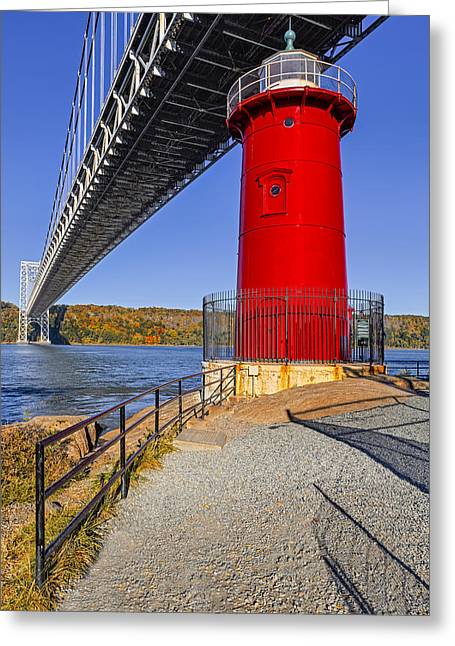 Landmarks Greeting Cards - Little Red Lighthouse Under Graat Grey Bridge Greeting Card by Susan Candelario