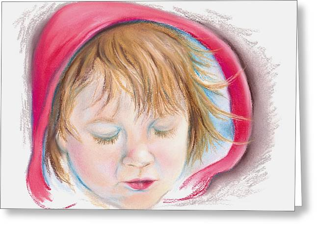 Character Portraits Pastels Greeting Cards - Little Red Greeting Card by MM Anderson