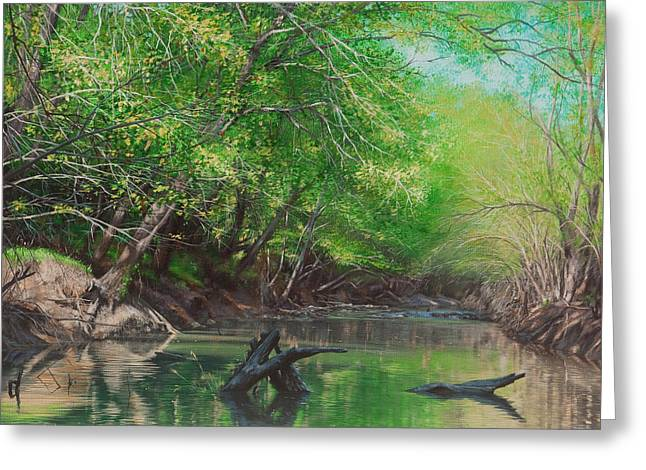 Little Red River Paintings Greeting Cards - Little Red Morning Greeting Card by Glenn Pollard