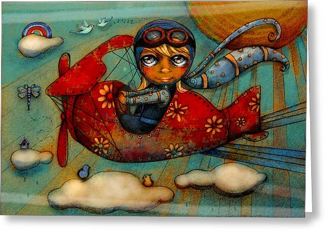 Little Red Plane Greeting Card by Karin Taylor