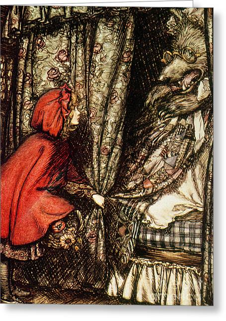 Fairies Drawings Greeting Cards - Little Red Riding Hood Greeting Card by Arthur Rackham