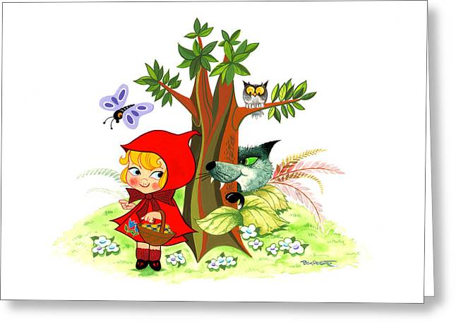 Nursery Rhyme Mixed Media Greeting Cards - Little red Riding Hood Greeting Card by Ben De Soto