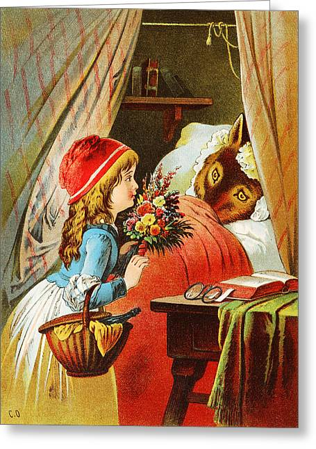 Nursery Rhyme Greeting Cards - Little Red Riding Hood Greeting Card by Carl Offterdinger
