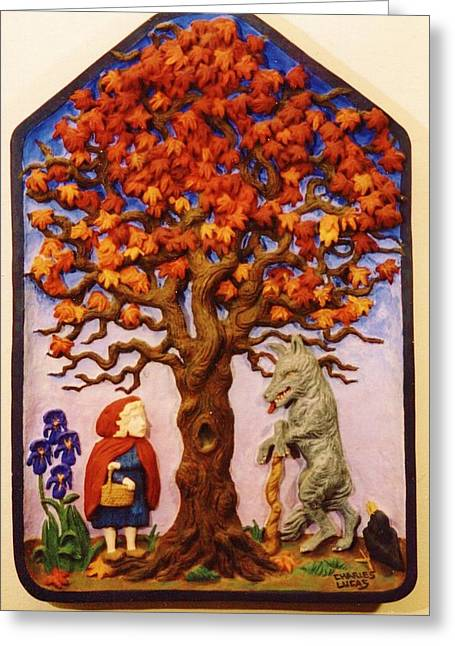 Ceramic Sculpture Ceramics Greeting Cards - Little Red Riding Hood Greeting Card by Charles Lucas