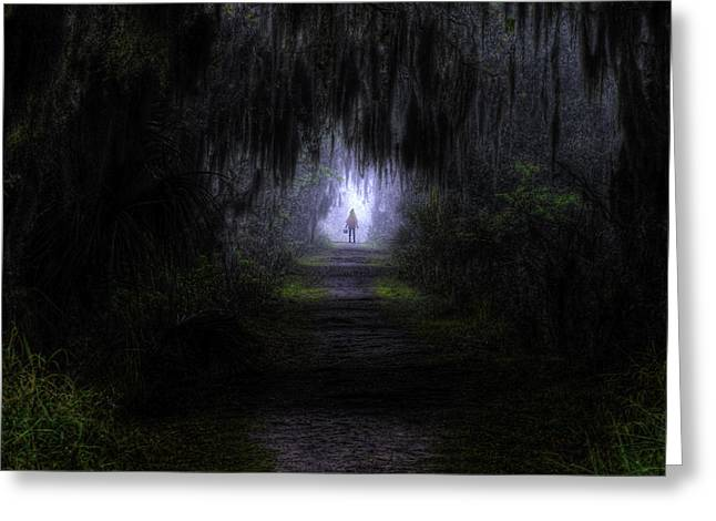Circle B Bar Greeting Cards - Little Red Riding Hood Dark Passage Greeting Card by Jay Droggitis