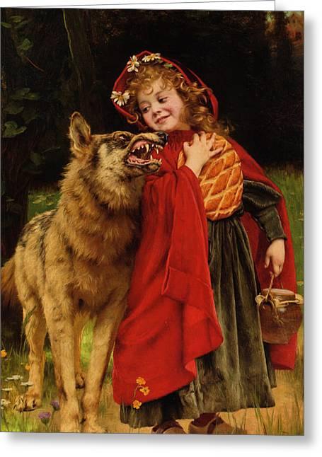 Nursery Rhyme Greeting Cards - Little Red Riding Hood Greeting Card by Gabriel Joseph Marie Augustin Ferrier