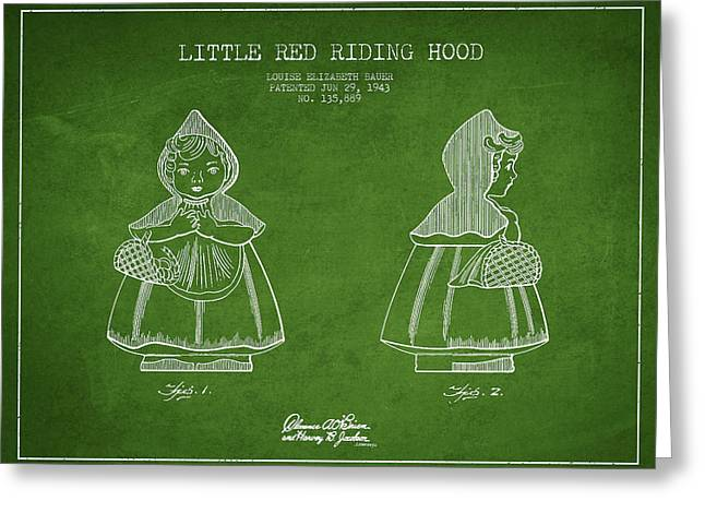 Grimm Greeting Cards - Little Red Riding Hood Patent Drawing from 1943 - Green Greeting Card by Aged Pixel