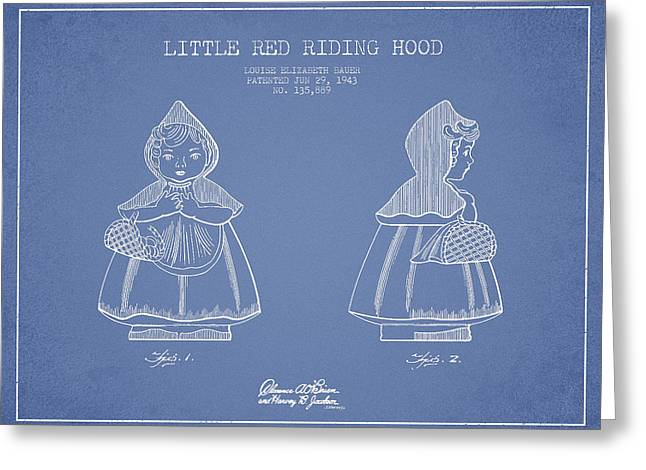 Grimm Greeting Cards - Little Red Riding Hood Patent Drawing from 1943 - Light Blue Greeting Card by Aged Pixel