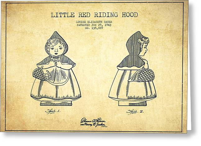 Little Greeting Cards - Little Red Riding Hood Patent Drawing from 1943 - Vintage Greeting Card by Aged Pixel