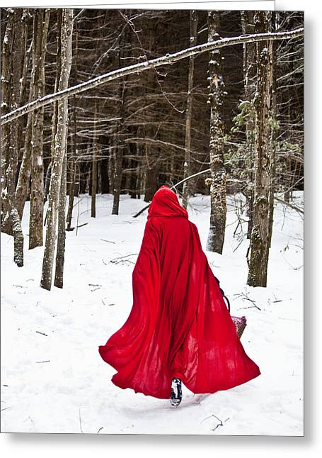 Snow Scene Landscape Greeting Cards - Little Red Riding Hood Greeting Card by Trevor Slauenwhite
