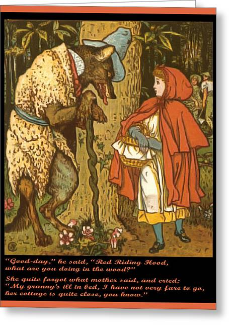 Nursery Rhyme Greeting Cards - Little Red Riding Hood  Greeting Card by Walter Crane