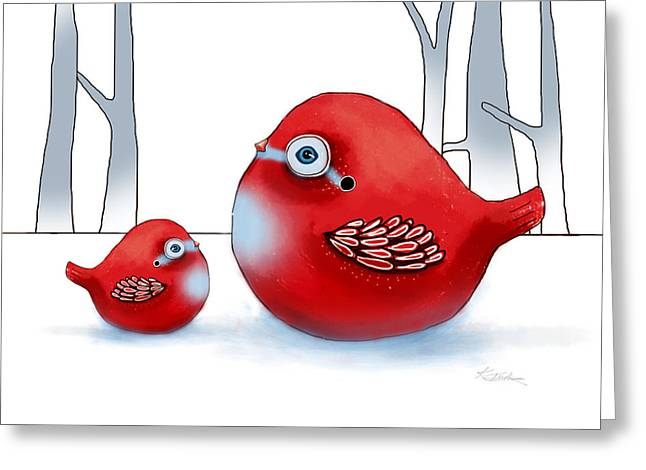 Little Red Robins Greeting Card by Karin Taylor