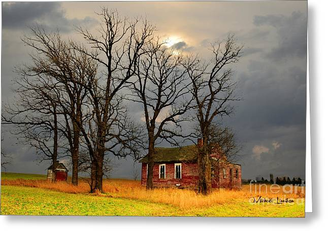Old Barns Greeting Cards - Little Red School House Greeting Card by Mike  Linnihan