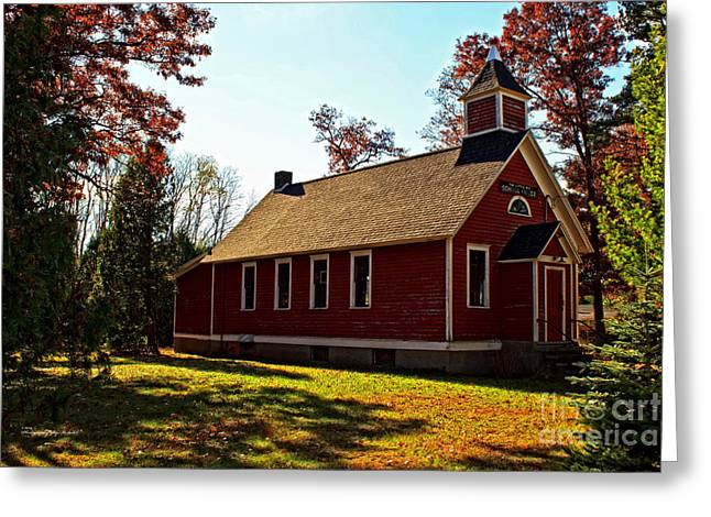 Red School House Greeting Cards - Little Red School House Greeting Card by Ms Judi