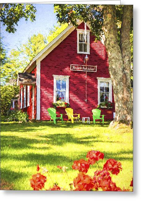 Old School Houses Paintings Greeting Cards - Little Red School House Greeting Card by Terry J Alcorn