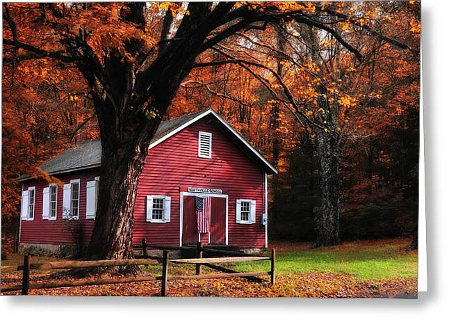 Classic New England Greeting Cards - Little Red School House Greeting Card by Thomas Schoeller