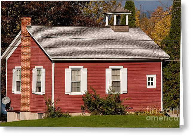 Camelot Greeting Cards - Little Red Schoolhouse in Bennington Vermont Greeting Card by Robert Ford
