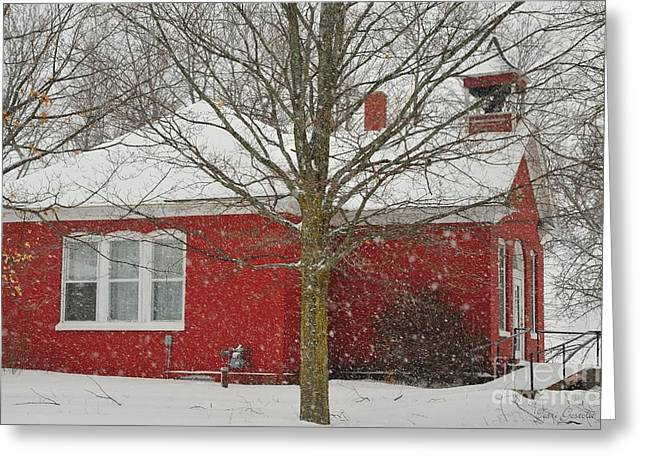 Northern Greeting Cards - Little Red Schoolhouse in Cadillac Michigan Greeting Card by Terri Gostola