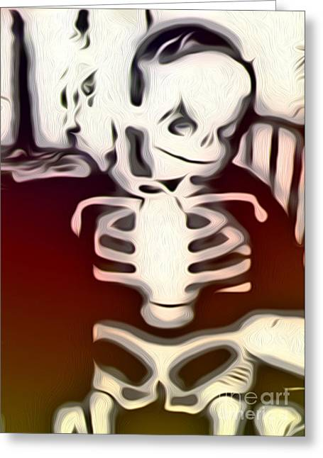 Little Red Skeleton Greeting Card by Gregory Dyer