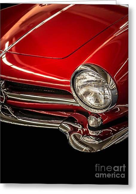 Stylish Car Greeting Cards - Little red sports car Greeting Card by Edward Fielding