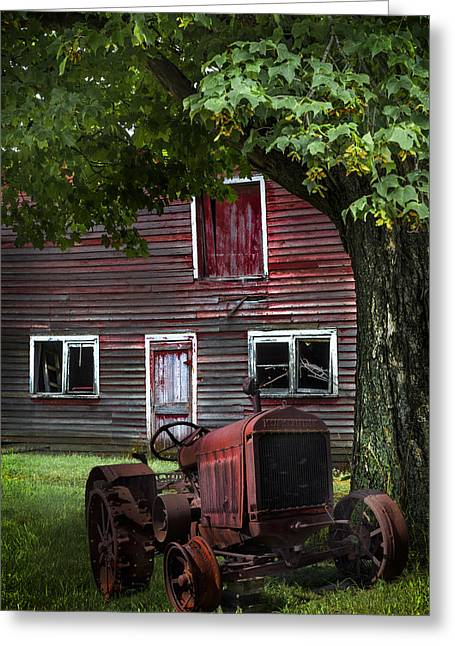 Michigan Farmhouse Greeting Cards - Little Red Tractor Greeting Card by Debra and Dave Vanderlaan