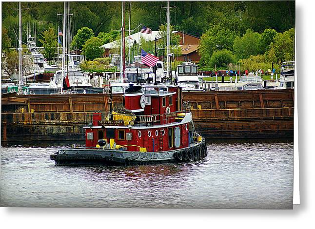 Fireboat Framed Prints Greeting Cards - Little Red Tug Working in Sturgeon Bay    Greeting Card by Carol Toepke
