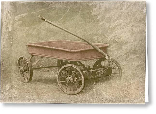 Red Wagon Greeting Cards - Little Red Wagon Greeting Card by Angie Vogel