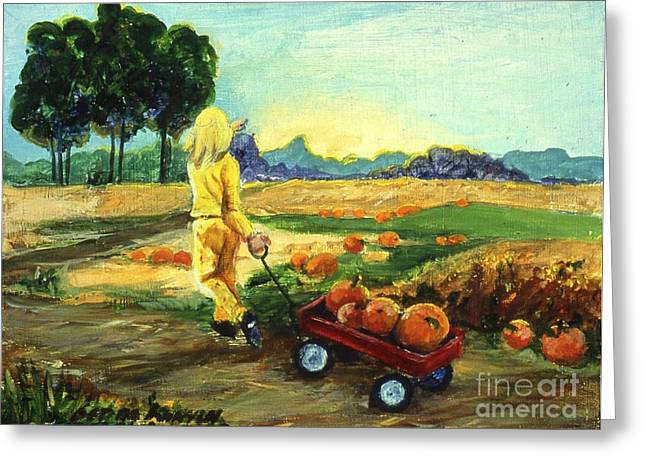 Rural Indiana Greeting Cards - Little Red Wagon in the Pumpkin Patch Greeting Card by Gedda Runyon Starlin