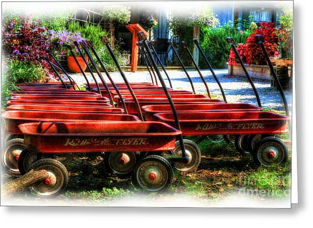 Pull Greeting Cards - Little Red Wagons Greeting Card by Mel Steinhauer