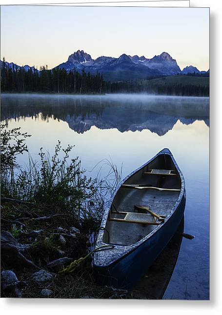 Quite Greeting Cards - Little Redfish Lake and Canoe Greeting Card by Vishwanath Bhat