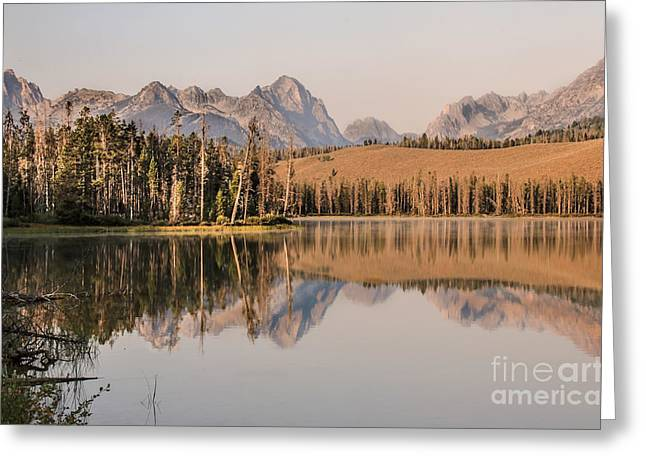 Haybale Greeting Cards - Little Redfish Lake Reflections Greeting Card by Robert Bales