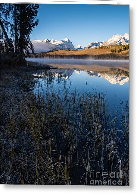 Snow-covered Landscape Greeting Cards - Little Redfish Lake Stanley Idaho Greeting Card by Vishwanath Bhat