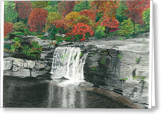 The Grand Canyon Mixed Media Greeting Cards - Little River Falls Greeting Card by Cloud Farrow