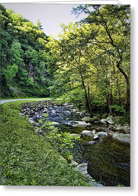 Babbling Greeting Cards - Little River Road Greeting Card by Cricket Hackmann