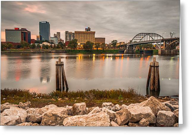 Little Rock Arkansas Skyline From The River Greeting Card by Gregory Ballos