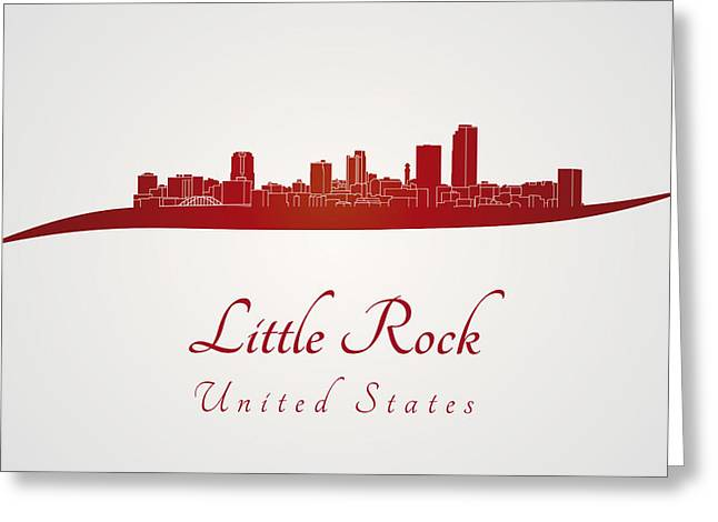 Arkansas Digital Greeting Cards - Little Rock skyline in red Greeting Card by Pablo Romero