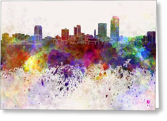Little Rock Skyline In Watercolor Background Greeting Card by Pablo Romero