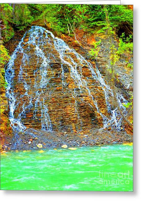 Stepping Stones Mixed Media Greeting Cards - Little Rock Waterfall Greeting Card by John Kreiter