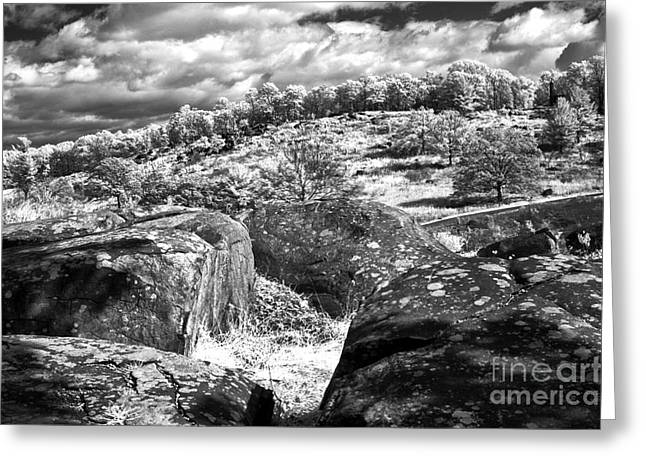 Best Sellers -  - Devils Den Greeting Cards - Little Roundtop overlooking Devils Den Greeting Card by Paul W Faust -  Impressions of Light