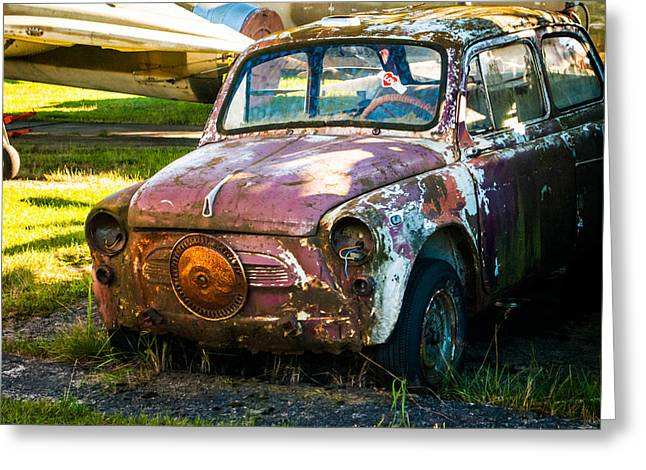 Go Cart Greeting Cards - Little Rusty Abandoned Car Greeting Card by Andrey Salikov